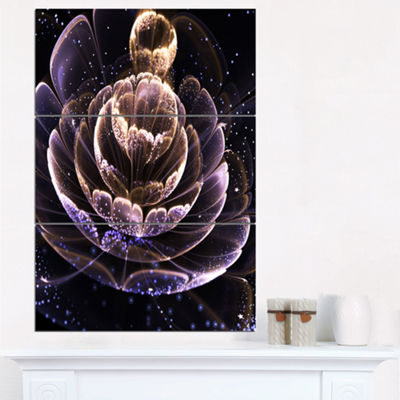 Designart Purple Ideal Fractal Flower With PollenFloral Triptych Canvas Art Print