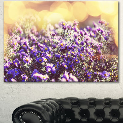 Designart Purple Little Wild Flowers Floral CanvasArt Print - 3 Panels