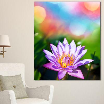 Designart Purple Lotus On Abstract Background Large Flower Canvas Wall Art