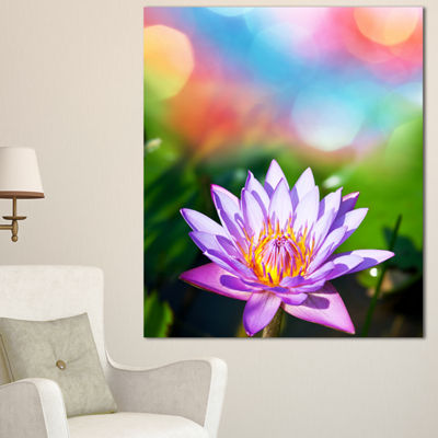 Designart Purple Lotus On Abstract Background Large Flower Canvas Wall Art - 3 Panels