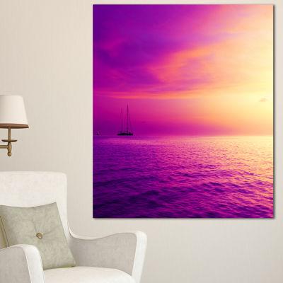 Designart Purple Sea In Maldives At Sunset Large Seashore Canvas Print - 3 Panels