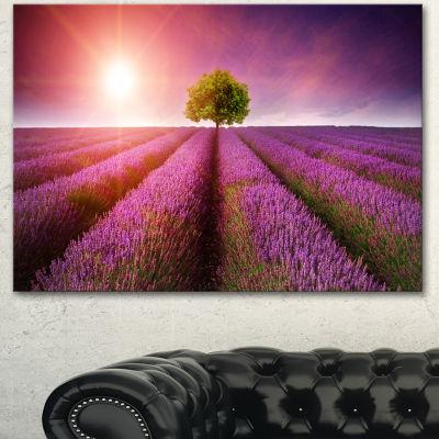 Designart Purple Sky Over Stunning Lavender FieldFloral Canvas Art Print - 3 Panels