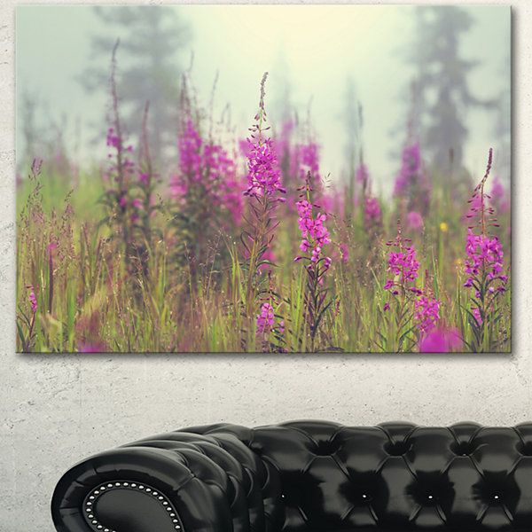 Design Art Purple Summer Flowers In Foggy Field Floral Art Canvas Print