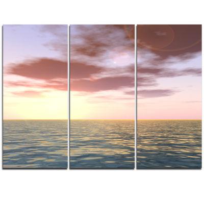 Designart Purple Tinged Atlantic Seashore SeascapeTriptych Canvas Art Print