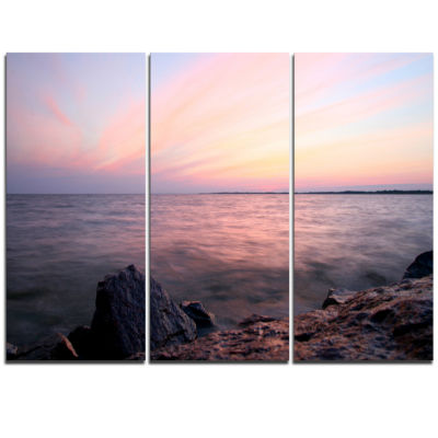 Designart Purple Tinged Evening Seashore Beach Photo Triptych Canvas Print