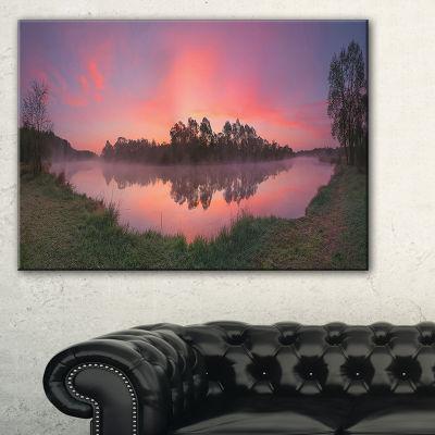 Designart Purple Tinged Lake Sunrise View Landscape Artwork Canvas