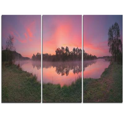 Design Art Purple Tinged Lake Sunrise View Landscape Artwork Triptych Canvas