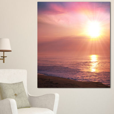 Designart Purple Tinged Seashore At Sunset Seashore Canvas Art Print - 3 Panels