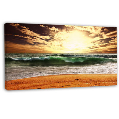 Designart Raging Green Waves At Sunset Large Seashore Canvas Print
