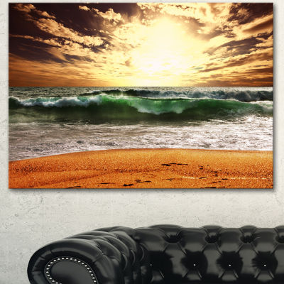 Designart Raging Green Waves At Sunset Large Seashore Canvas Print - 3 Panels