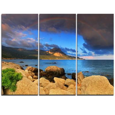 Designart Rainbow Over The Ocean Bay Modern Seascape Triptych Canvas Artwork