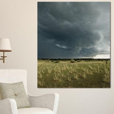Designart Rainy Cloud Over Green Pasture OversizedLandscape Canvas Art - 3 Panels