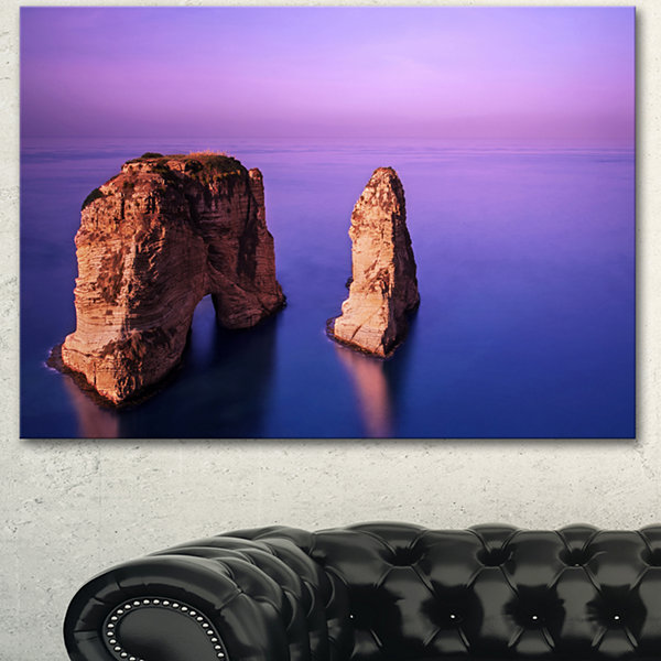Design Art Rawsha Rock On Sunset Seascape Canvas Art Print