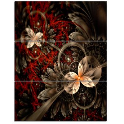Designart Red And Orange Fractal Flower Pattern Floral Triptych Canvas Art Print