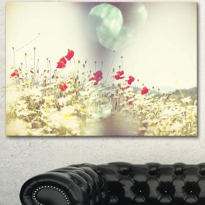 Designart Red And White Poppy Flowers Field LargeFlower Canvas Art Print