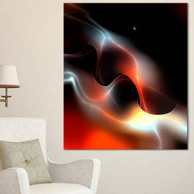 Designart Red Black Abstract Warm Fractal DesignAbstract Wall Art Canvas - 3 Panels