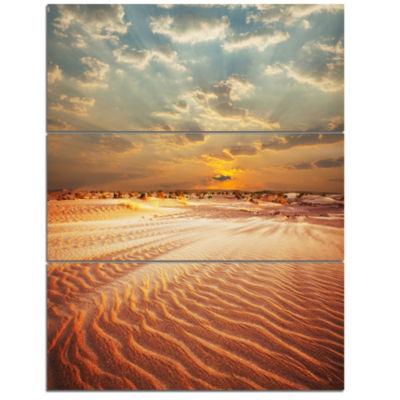 Designart Red Desert Under Blue Cloudy Skies Modern Landscape Wall Art Triptych Canvas