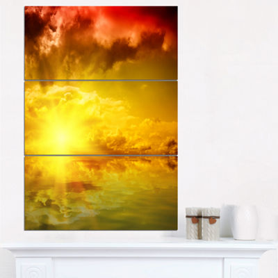 Designart Red Dramatic Sky With Yellow Sun Landscape Triptych Canvas Art Print
