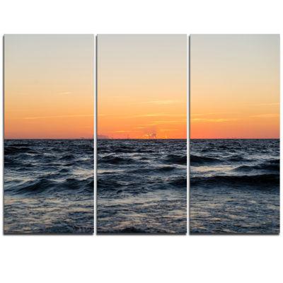 Designart Red Dramatic Sunset Over Beach Large Seashore Triptych Canvas Print