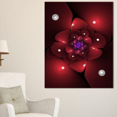 Designart Red Fractal Flower With Illumination Floral Canvas Art Print