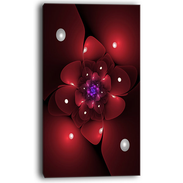 Designart Red Fractal Flower With Illumination Floral Canvas Art Print
