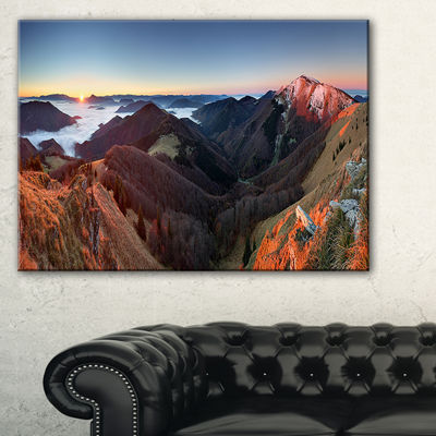 Designart Red Mountain Sunset Panorama Landscape Artwork Canvas