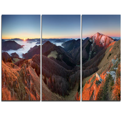 Designart Red Mountain Sunset Panorama Landscape Artwork Triptych Canvas