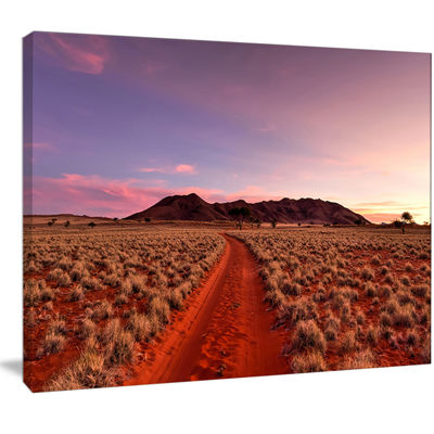 Designart Red Pathway In Namib Desert Extra LargeLandscape Canvas Art