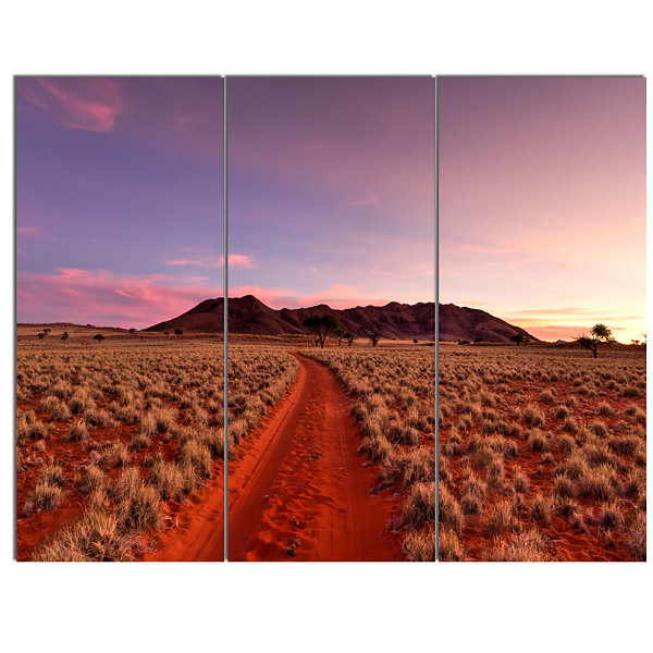 Designart Red Pathway In Namib Desert Extra LargeLandscape Canvas Art - 3 Panels