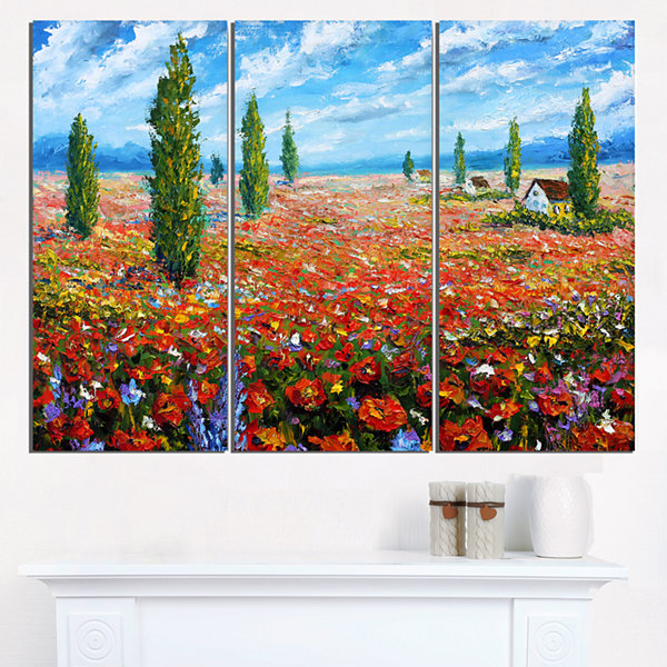 Designart Red Poppies Field Watercolor Large Flower Triptych Canvas Wall Art