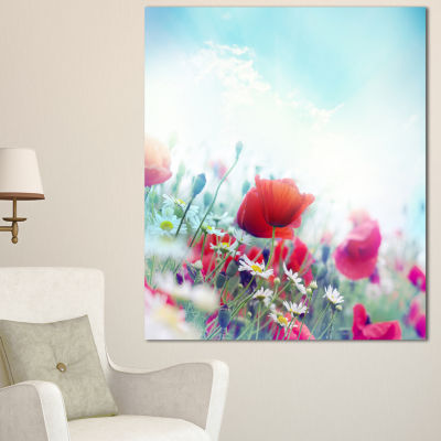 Designart Red Poppies On Blue Background Floral Canvas Art Print - 3 Panels