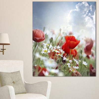 Designart Red Poppies On Cloudy Background FloralCanvas Art Print