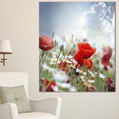 Designart Red Poppies On Cloudy Background FloralCanvas Art Print - 3 Panels