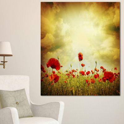 Designart Red Poppies On Grunge Background FloralCanvas Art Print - 3 Panels