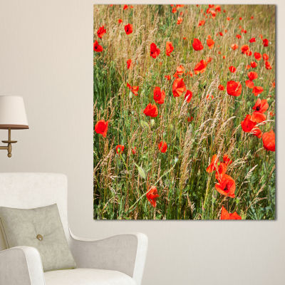 Designart Red Poppy Field With Full Of Flowers Large Flower Canvas Art Print