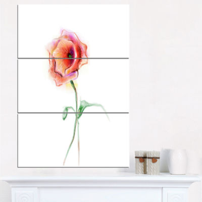Designart Red Poppy Flower With Green Leaves LargeFlower Triptych Canvas Wall Art