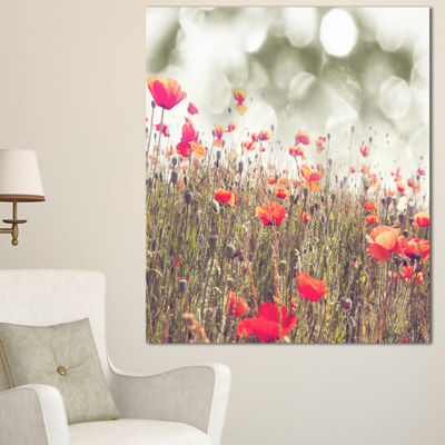 Designart Red Poppy Flowers Meadow Floral Canvas Art Print - 3 Panels