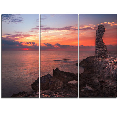 Designart Red Rocky Beach With Ancient Ruins Oversized Beach Triptych Canvas Artwork
