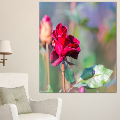 Designart Red Rose On Blurred Background Large Flower Canvas Wall Art - 3 Panels