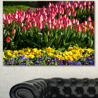 Designart Red Tulips With Yellow Purple Flowers Large Flower Canvas Art Print - 3 Panels