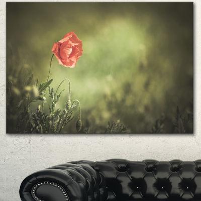 Designart Red Wild Poppy Flower On Green Floral Canvas Art Print