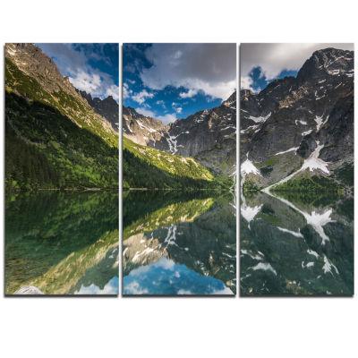 Designart Reflection Of Mountain Peaks Landscape Triptych Canvas Art Print