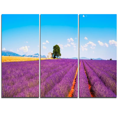 Designart Remote House And Tree In Lavender FieldOversized Landscape Wall Art Print