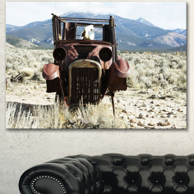 Designart Retro Car In Mountainous Area OversizedLandscape Canvas Art