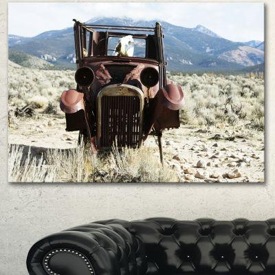 Designart Retro Car In Mountainous Area OversizedLandscape Canvas Art - 3 Panels