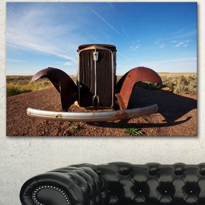 Designart Retro Car Under Calm Blue Sky OversizedLandscape Canvas Art - 3 Panels