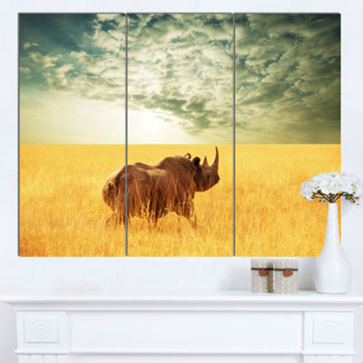 Designart Rhino In Grassland Under Cloudy Sky African Canvas Art Print - 3 Panels