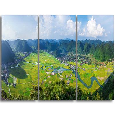 Designart Rice Field Valley Vietnam Panorama Landscape Triptych Canvas Art Print