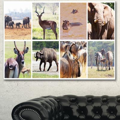 Designart Rich African Wildlife Collage Animal ArtPainting - 3 Panels
