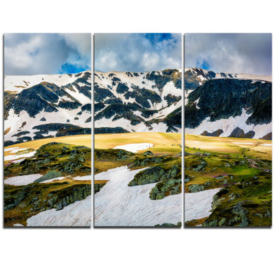 Designart Rila Lakes And Mountains In Bulgaria Landscape Triptych Canvas Art Print
